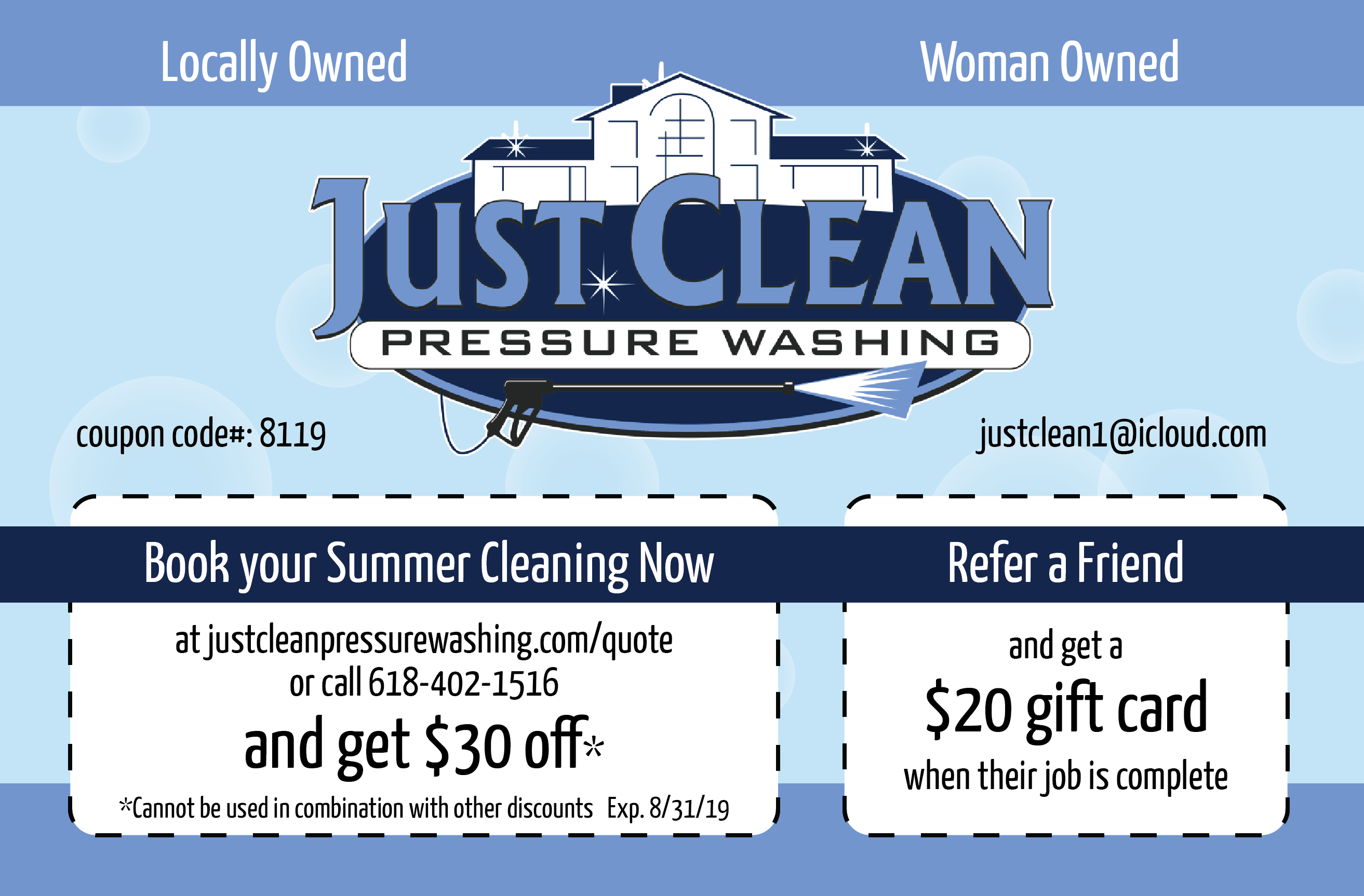 Summer Cleaning Promo for August 2019 from Just Clean Pressure Washing in O'Fallon IL
